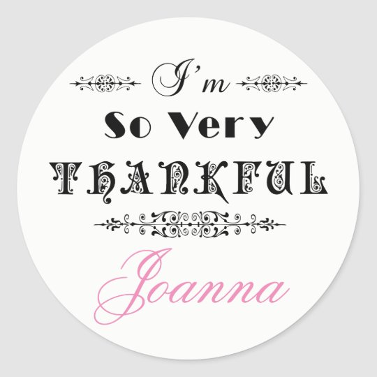 Black Text Design- Thank You Classic Round Sticker