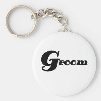 Black Text Groom Basic Round Button Key Ring