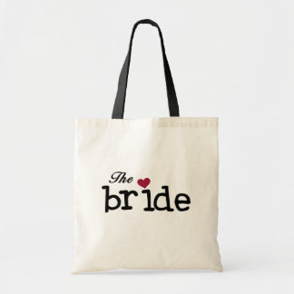 Black Text The Bride Tshirts and Gifts Budget Tote Bag