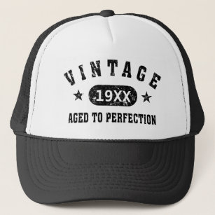 a3d609e2 Black Text Vintage Aged to Perfection Hat