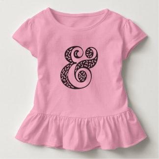 Black textured ampersand circle toddler ruffle tee