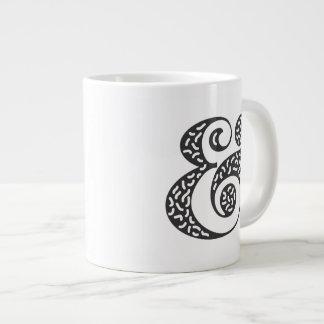 black textured ampersand giant coffee mug