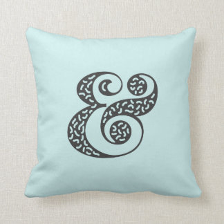Black textured ampersand square pillow