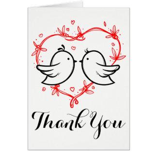 Black Thank You Black Lovebirds Hearts Wedding Card