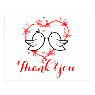 Black Thank You Black Lovebirds Hearts Wedding Postcard
