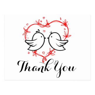 Black Thank You Lovebirds Red Hearts Wedding Postcard