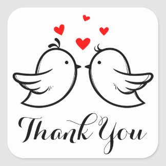 Black Thank You  Lovebirds Red Hearts Wedding Square Sticker