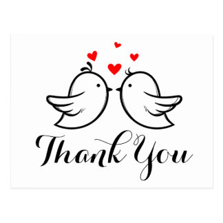 Black Thank You Lovebirds - Wedding, Bridal Shower Postcard