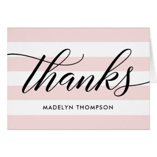 Black Thank You Notes | Pale Pink Stripes