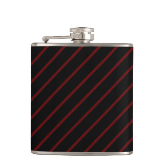 Black & Thin Red Stripes 6 oz Vinyl Wrapped Flask