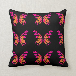 Black Throw Pillow with Pink vintage Butterfly