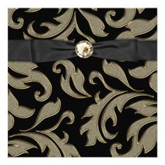 Black Tie Black Gold Damask Party Invitation