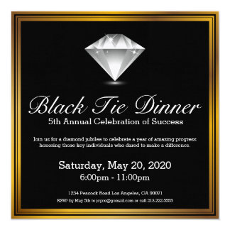 Black Tie Diamond Jubilee Dinner Invitation