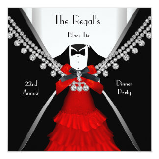 Black Tie Dinner White Red Bow Party Card
