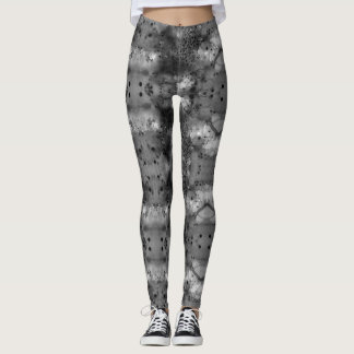 Black tie-dye, watercolor with dots leggings