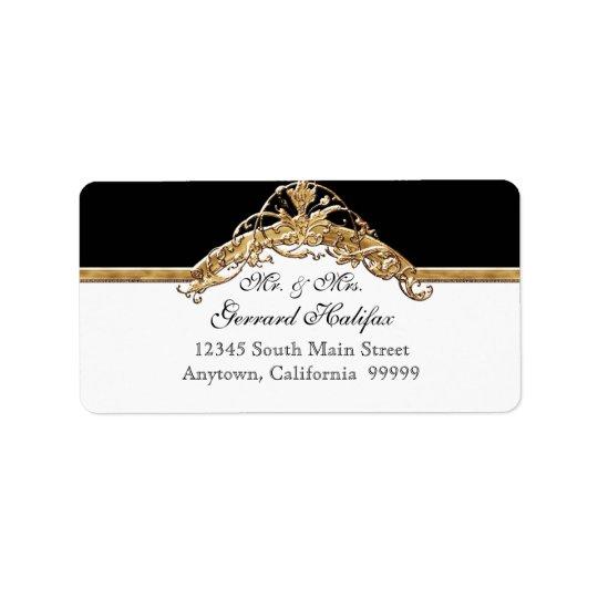 Black Tie Elegance 2 Golden Matching Address Label