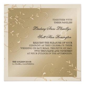 Black Tie Elegance Champagne Cream Wedding Cards Invitations
