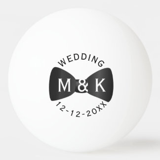 Black Tie Monogram Wedding Ping Pong Ball