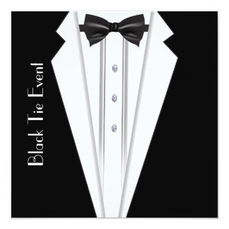 Black Tie White Tuxedo Formal Invitation