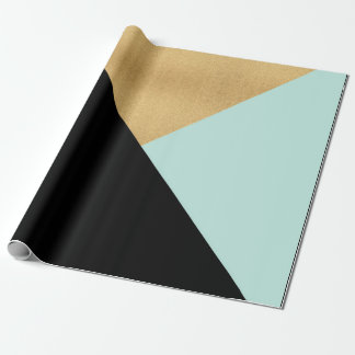 Black Tiffany Mint Aqua Black Gold Pastel Geometry Wrapping Paper