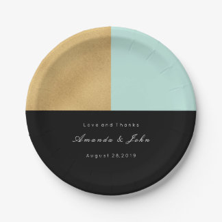 Black Tiffany Mint Gold Pastel Bridal Wedding 7 Inch Paper Plate