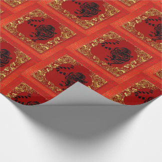 Black Tiger Chinese Zodiac Animal Red and Gold Wrapping Paper