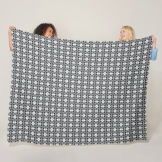 Black Tiger Modern Houndstooth Satin Pattern Fleece Blanket