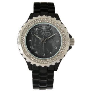 black tiger print on wood digital art wristwatches