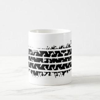 black tire tracks basic white mug
