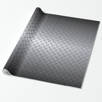 Black to Bright Steel Fade Diamondplate Background Wrapping Paper
