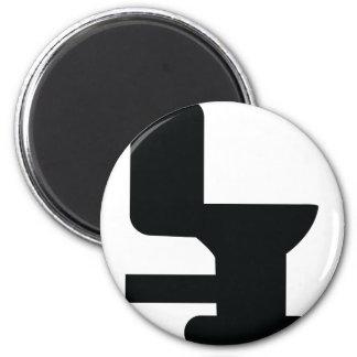 black toilet icon 6 cm round magnet