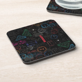Black Tones Traveling Pasport Stamps. Drink Coasters