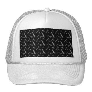 Black tools pattern hat