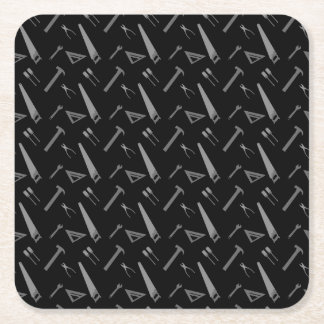 Black tools pattern square paper coaster