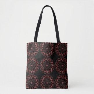 Black tote, all-over print, mandala, brown tones tote bag