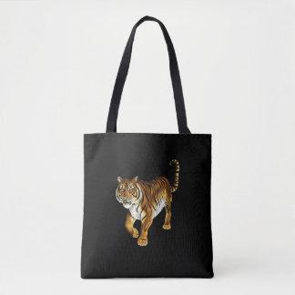 Black  tote bag  Tiger image