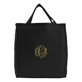 Black Tote Bag with Embroidered Monogram