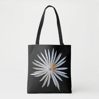 Black Tote Bag with White Flower