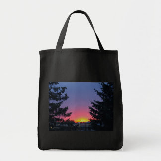 Black tote with sunrise grocery tote bag
