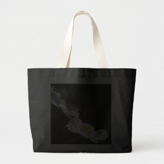 Black Tote with white flowers Canvas Bag
