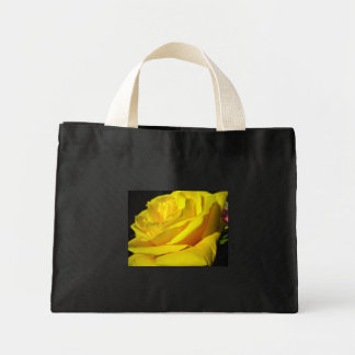 Black tote with yellow rose mini tote bag