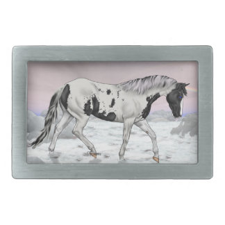 Black Tovero Paint Horse in Snow Rectangular Belt Buckle
