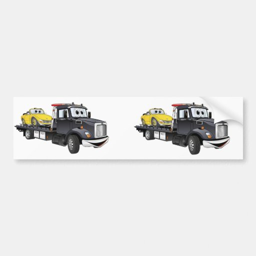 Black Tow Truck Flatbed Cartoon Bumper Sticker