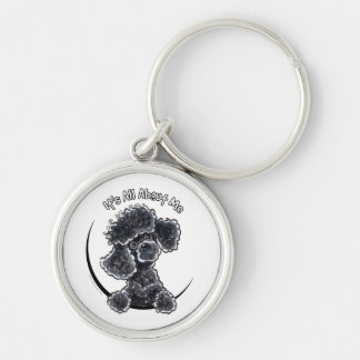 Black Toy Poodle IAAM Silver-Colored Round Key Ring