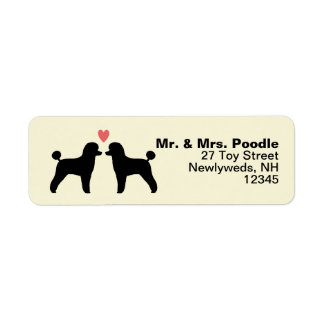 Black Toy Poodle Silhouettes with Heart Return Address Label