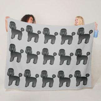 Black Toy Poodles Pattern On Grey Background Fleece Blanket