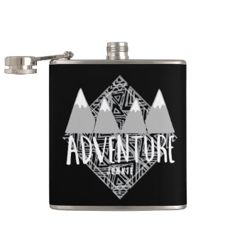 Black Travel Adventure Junkie Camping Hip Flask