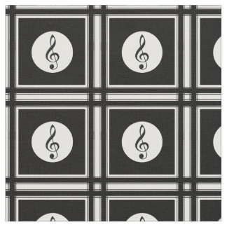 Black treble clef pattern fabric