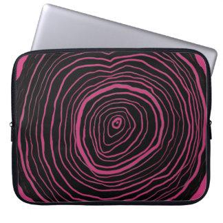 Black Tree Rings on Magenta Background Laptop Case