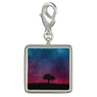 Black Tree Space Galaxy Cosmos Blue Pink Scenery